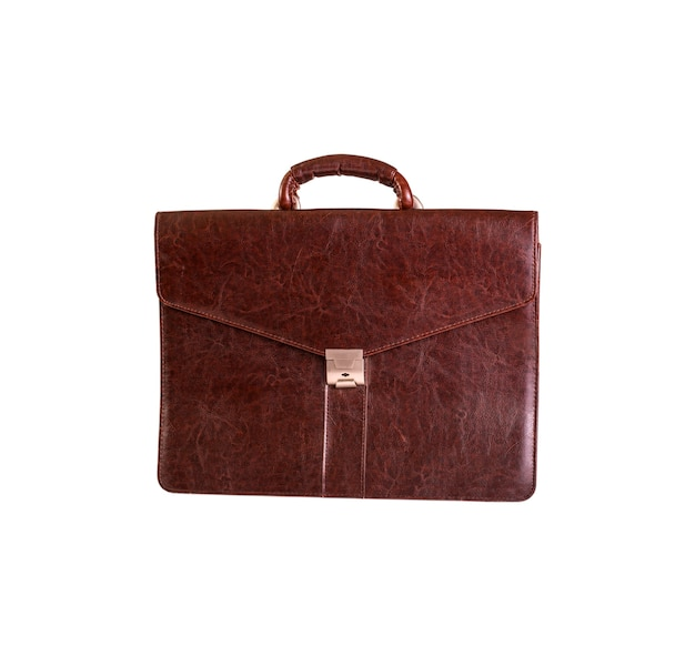 Brown leather bag for office isolated