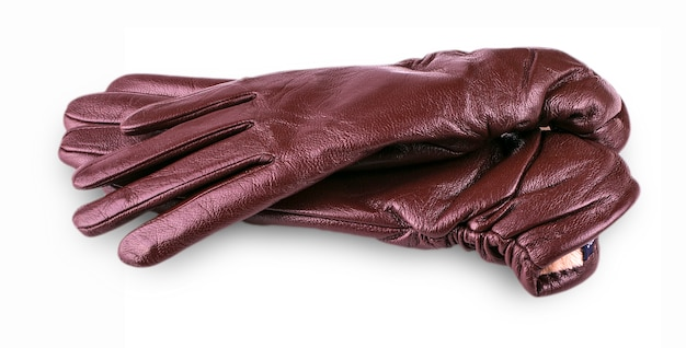 Brown leather female gloves