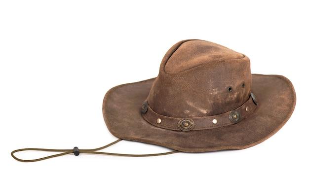 白で隔離の茶色の革の帽子