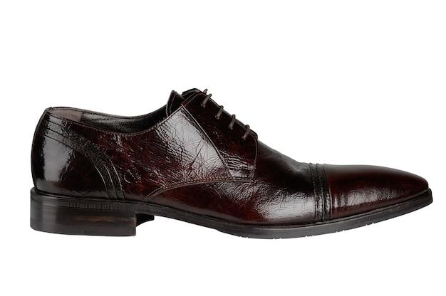 茶色の革の男性の靴は白で隔離