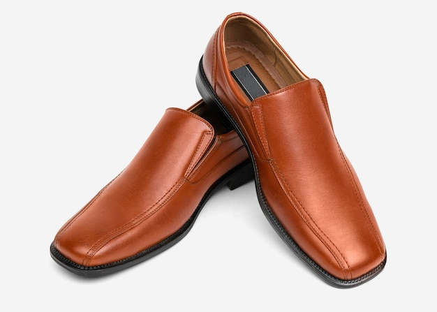 Brown leather slip-on men's shoes fashion