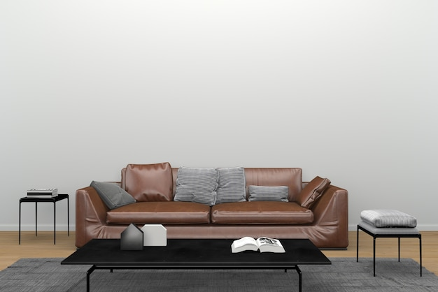 Brown leather sofa black mirror table carpet living room interior 3d