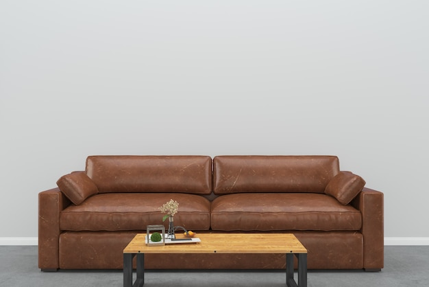 Brown leather sofa gray wall wood table concrete floor background interior living room