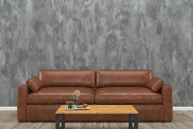 Brown leather sofa loft concrete wall wood table wooden floor interior living room