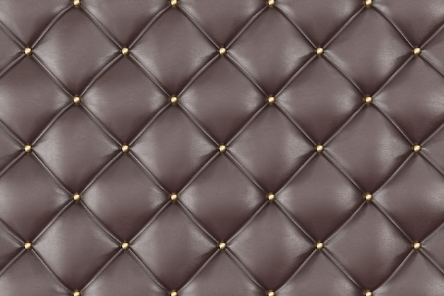 Brown leather upholstery sofa background. brown luxury decoration sofa. elegant brown leather texture with buttons for pattern and background. 3d rendering