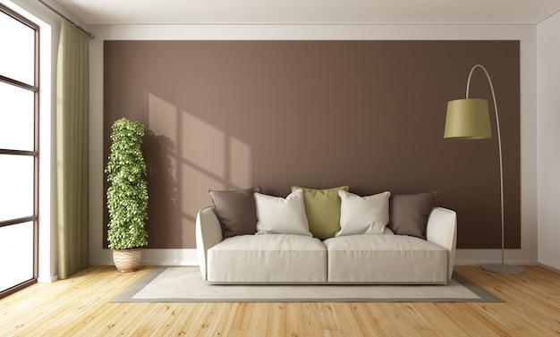 茶色のリビングルーム