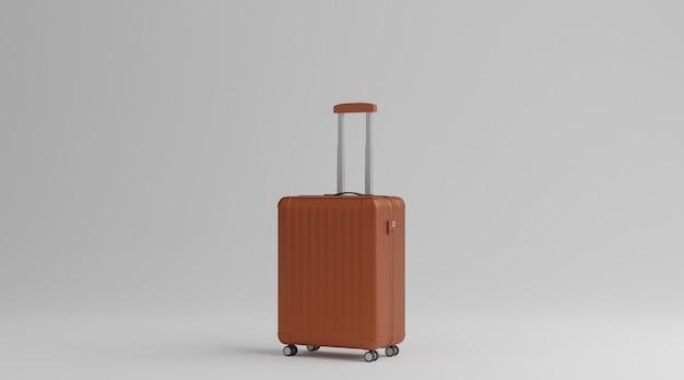 白い背景の上の茶色の荷物旅行のコンセプト。 3dレンダリング