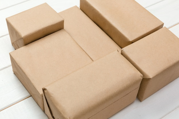 Brown mail package parcel blank
