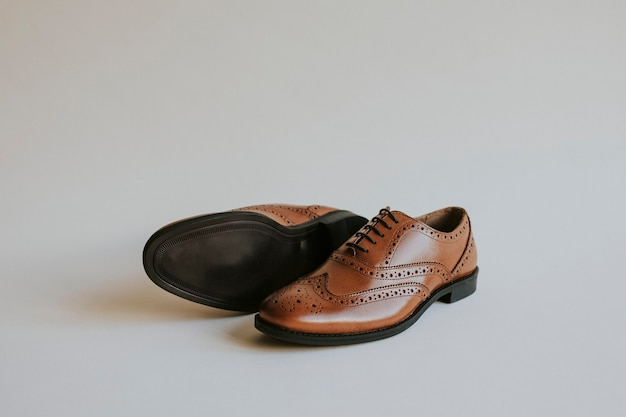 Brown man's leather derby shoes