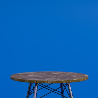 파란색 배경에 디스플레이 제품을위한 갈색 대리석 테이블 또는 제품 스탠드