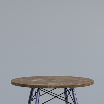 회색의 디스플레이 제품을위한 갈색 대리석 테이블 또는 제품 스탠드