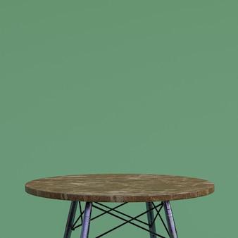 녹색 배경에 디스플레이 제품을위한 갈색 대리석 테이블 또는 제품 스탠드