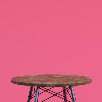 핑크색 디스플레이 제품을위한 갈색 대리석 테이블 또는 제품 스탠드