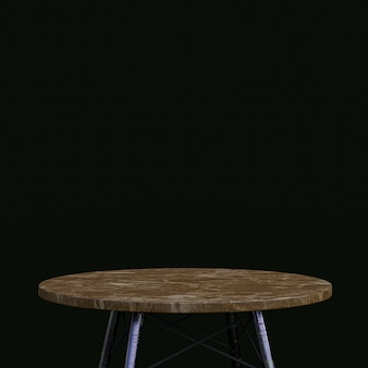 Brown marble table or product stand for display product on black background