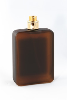 Brown matte bottle of perfume for men on white background