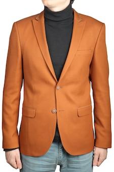 갈색 남자의 재킷, 흰색 배경에 고립. 남성용 오렌지 자켓 슈트.