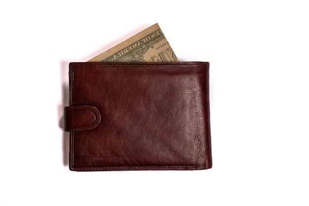 화이트에 돈으로 갈색 남자의 닫힌 된 지갑