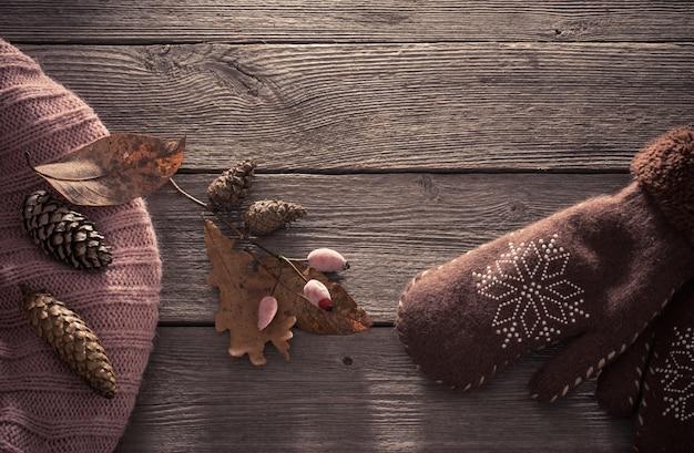Коричневая рукавица и шишки на деревянных фоне