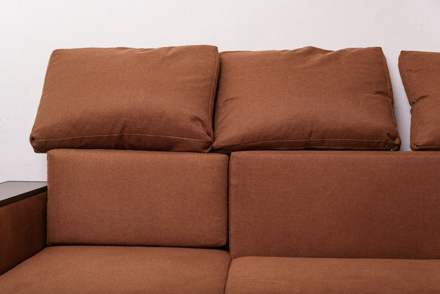 Brown owl sofa upholstered furniture. construction of apartment concept