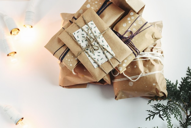 Brown packages with string