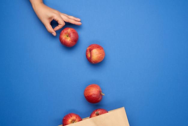 Коричневый бумажный пакет и спелые красные яблоки, женская рука толкает яблоки в упаковку
