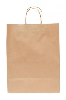 クラフト紙から茶色の紙袋。分離されたショッピングバッグ