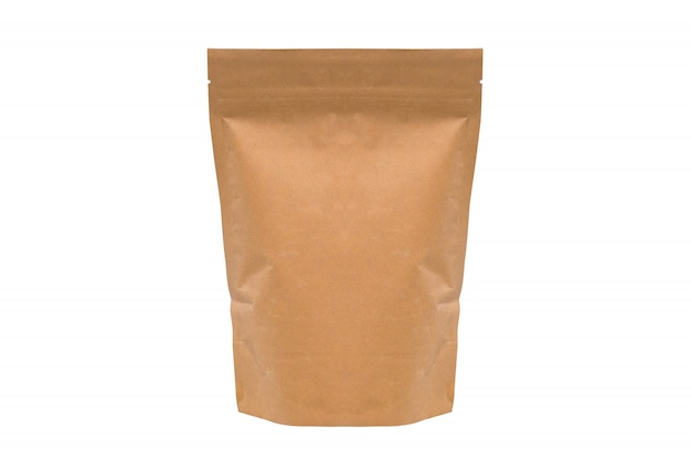 Brown paper bag isolated. coffee packaging