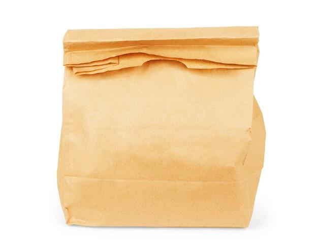 흰색 배경에 고립 된 갈색 종이 가방