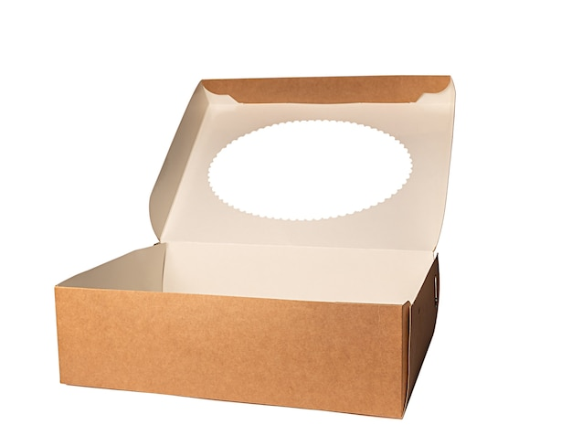 Brown paper box container isolated