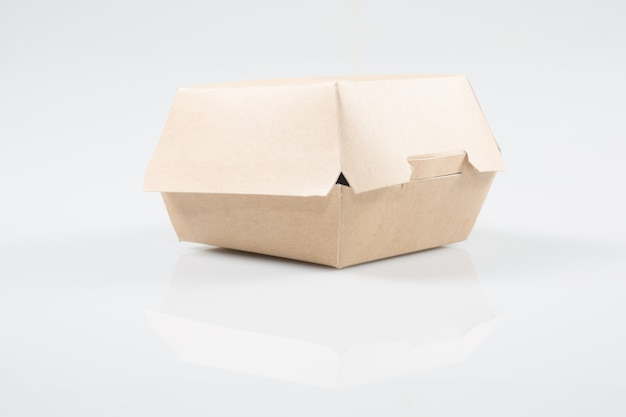 Brown paper cardboard food container burger in food truck