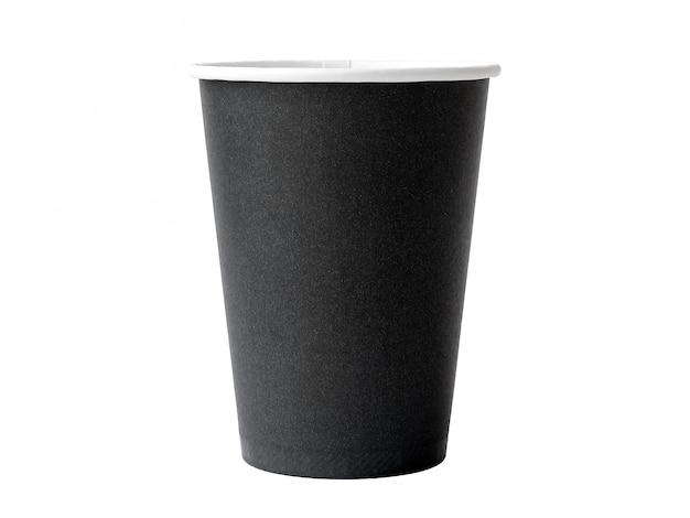 Brown paper coffee cup on white