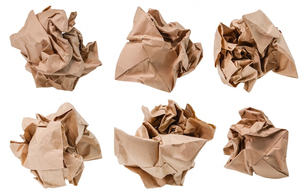 Brown paper crumpled into a ball.