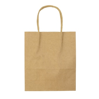 Brown paper shopping bag isolated on white surface