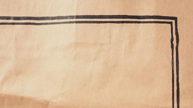 질감과 배경을 위한 검정 잉크 라인이 있는 갈색 종이.