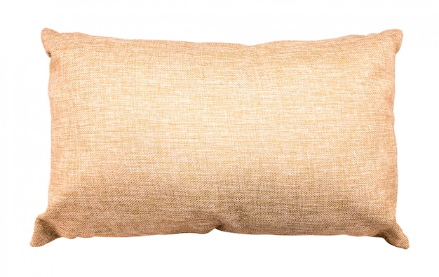 Brown pillow isolated. soft cushion made from burlap material.
