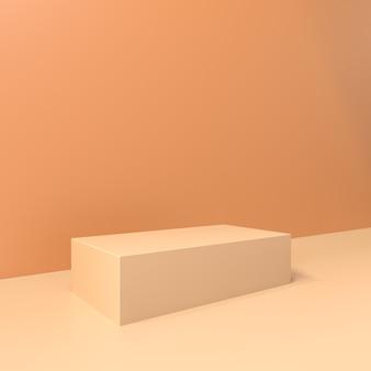 Коричневая платформа для демонстрации товара, 3d render premium photo
