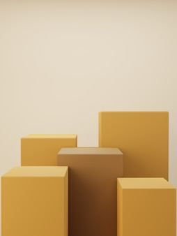 Brown podium. product display. 3d rendering