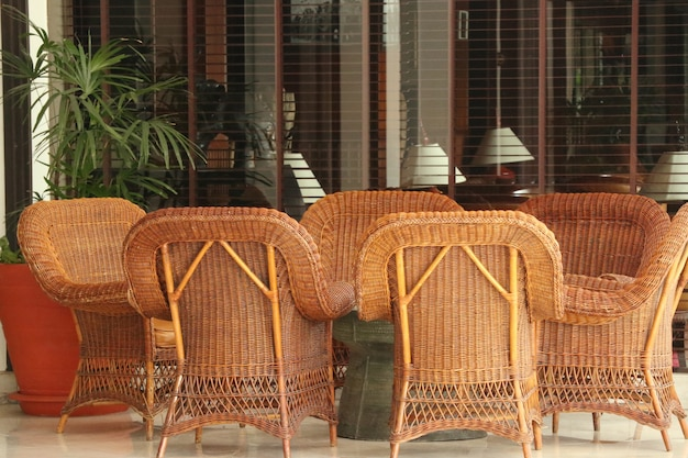 Brown rattan wicker chair