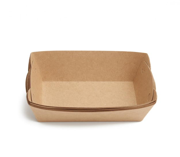 고립 된 갈색 사각형 공예 종이 접시