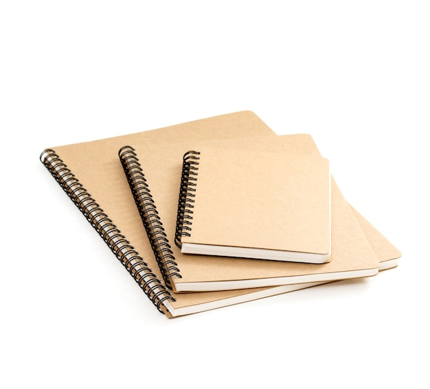 Brown recycled ring binder notebook on white background