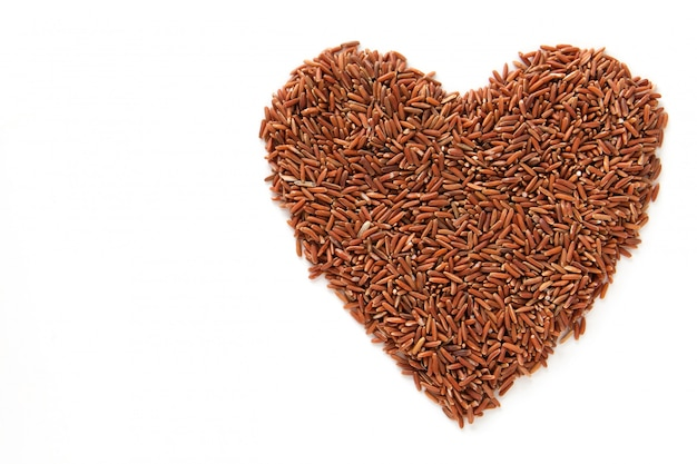 A brown rice is heart shape texture.