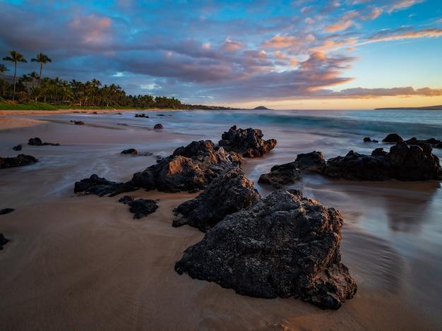 해변에 갈색 바위