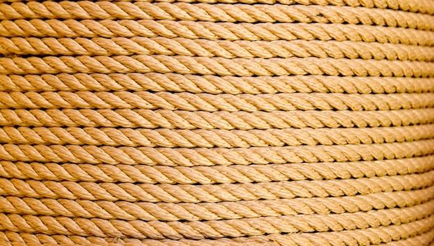 Brown rope in big round reel