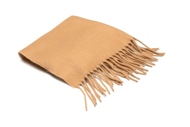 Brown scarf isolated on white background.