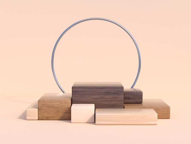 Brown scene wood square step podium 3d rendering