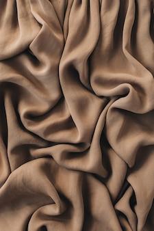 Brown silk crumpled linen texture pattern