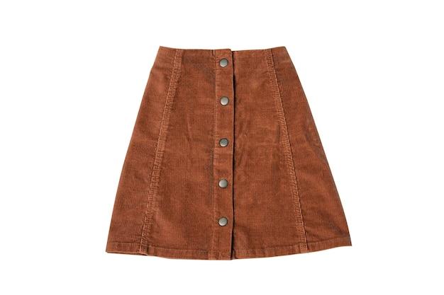 Коричневая юбка плоской планировки. концепция моды. изолировать на белом фоне.