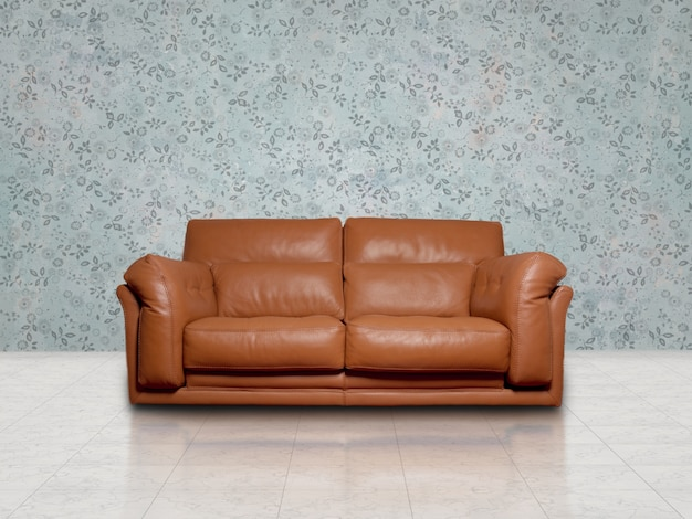 Brown sofa in blue room