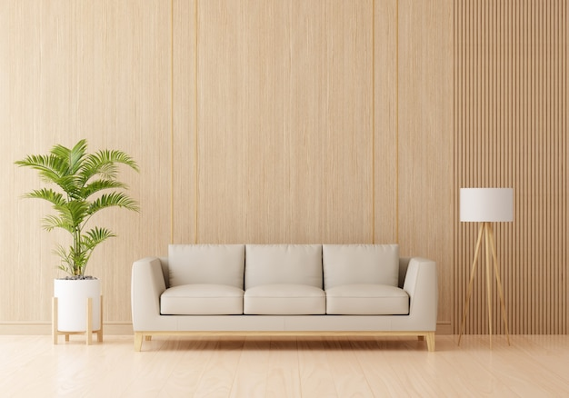 Brown sofa in living room interior with free space
