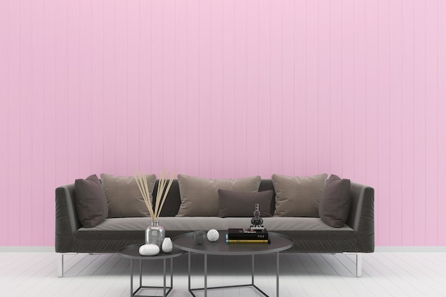 Brown sofa pink pastel wall white wood floor background texture